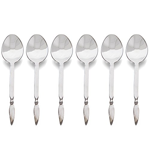 Premium Stainless Steel 6 Pieces Dessert/Cake Spoon Classic Wing-End Cutlery Set Handmade