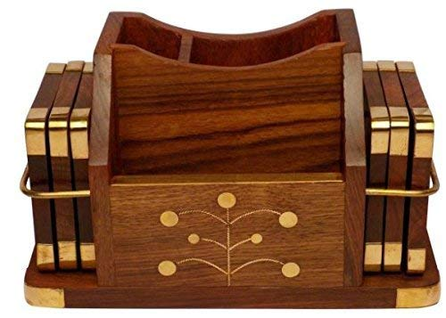Wooden Mobile Stand Pen Stand and Coaster Set (15 cm 8 cm 9 cm H), 2 image