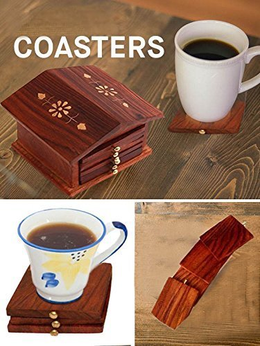 Gift at Fathers Day Wooden Coaster Inlay Design with Hut Shape Tea Coaster Set of 6 for Cup Unique Hut Shaped Table Kitchen Accessories & Gift Item, 2 image