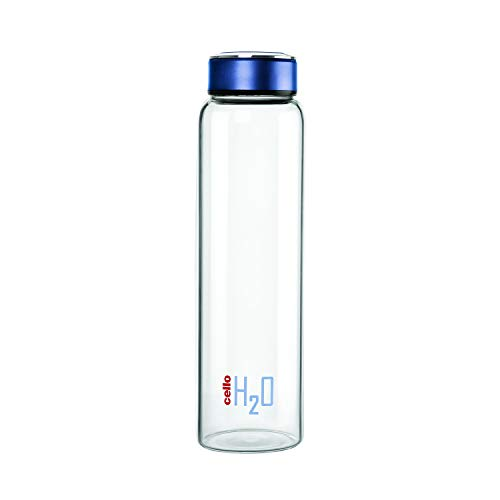 Cello H2O Borosilicate Glass Water Bottle (1000 ml Clear and Blue)