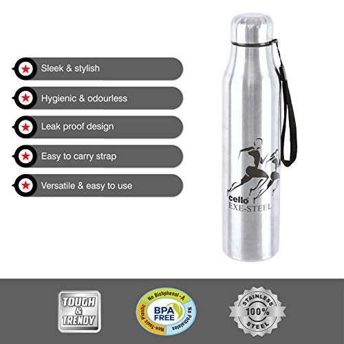 Cello Goldie Stainless Steel Water Bottle 1000 ml Set of 1 Silver, 4 image