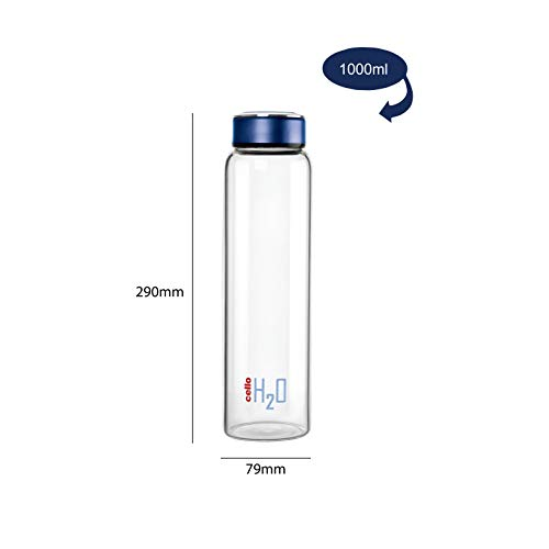 Cello H2O Borosilicate Glass Water Bottle (1000 ml Clear and Blue), 4 image