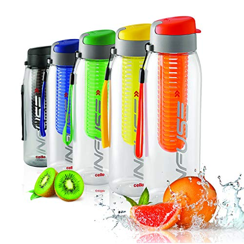 Cello Infuse Plastic(PET) Water Bottle with Infuser 800ml Set of 2 Assorted, 6 image