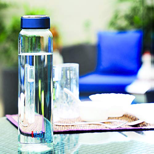 Cello H2O Borosilicate Glass Water Bottle (1000 ml Clear and Blue), 2 image