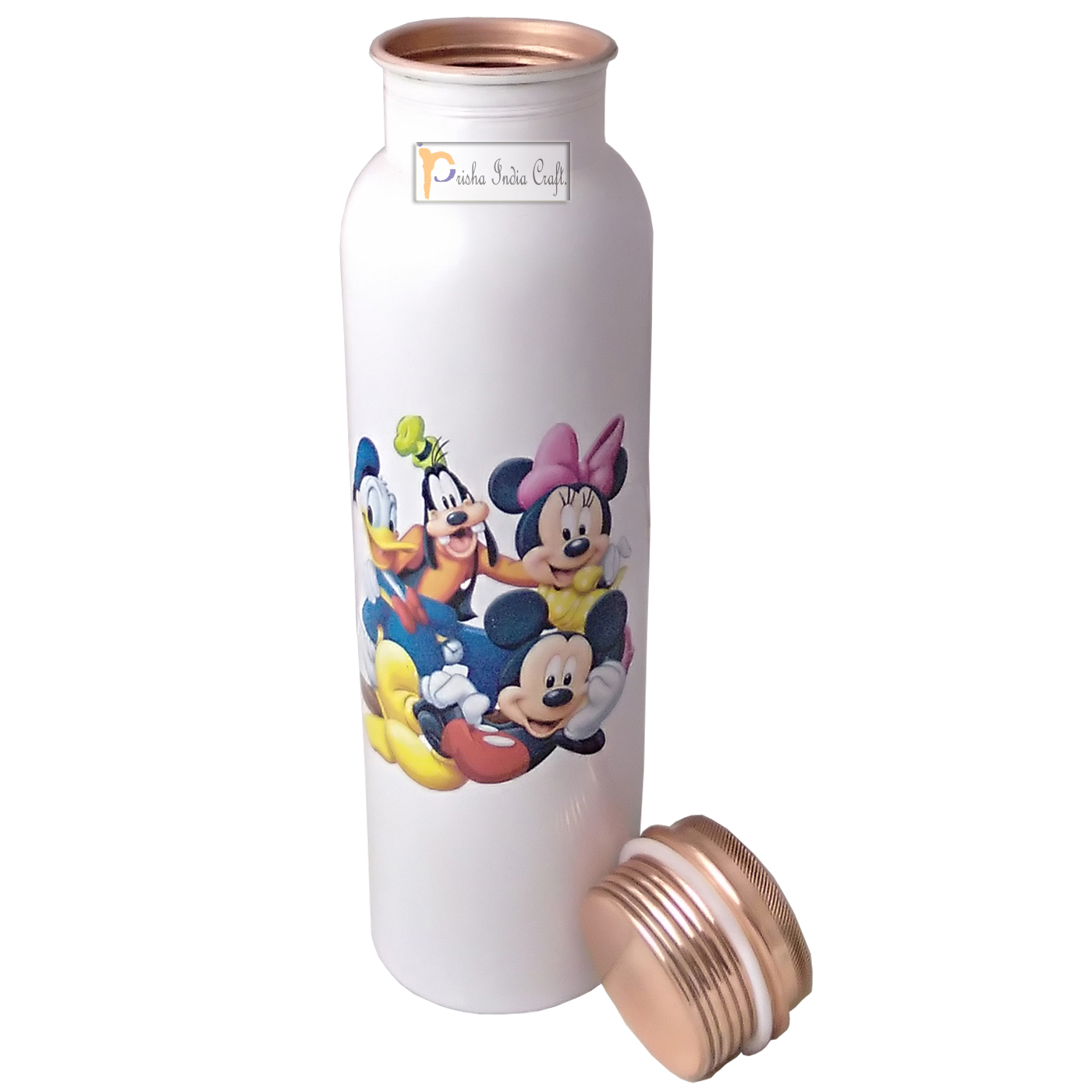 Digital Printed Pure Copper Water Bottle Kids School Water Bottle – Mickey Mouse and Donald Design, 1000 ML