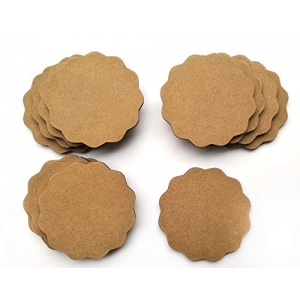 DIY MDF Circle and Scallop Shaped Coasters - (Set of 12)- for Craft/Activity/Decoupage/ting/Resin Work (Scallop Shaped)