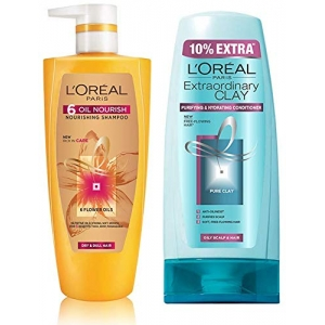 6 Oil Nourish Shampoo 640ml (With 10% Extra) & Extraordinary Clay Conditioner 175ml (With 10% Extra)