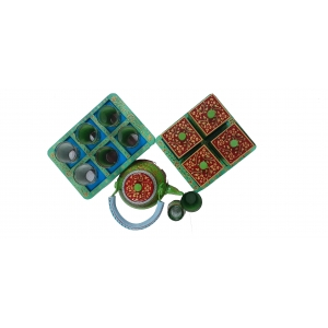 Multicolor Hand painted Aluminium Tea Kettle Set With 8 Glasses and Wooden dry fruits box.
