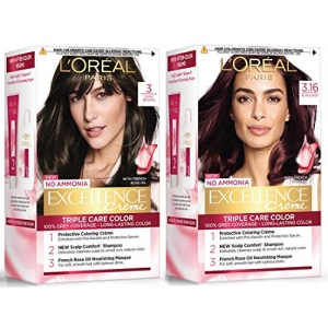 Excellence Creme Hair Color 3 Dark Brown/Natural Darkest Brown 72ml+100g & Excellence Creme Hair Color 3.16 Burgundy 72ml+100g