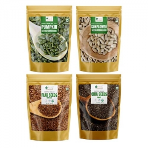 Bliss of Earth 500gm USDA Organic Raw Chia SeedFlax SeedPumpkin Seed And Sunflower Seed For Weight Loss Raw Super Food 500gm Each