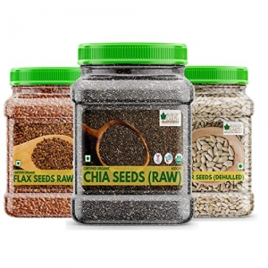 Bliss of Earth USDA Organic Raw Chia Seeds Flax Seed And Sunflower Seed For Weight Loss Raw Super Food(600gm Each))