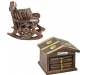 Traditional Coaster Set Hut with Antique Design Wooden Chair Coaster Set Pack of 2