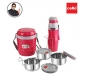 Lunch Express Insulated Tiffin and Water Bottle Red, 2 image