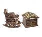 Traditional Coaster Set Hut with Antique Design Wooden Chair Coaster Set Pack of 2, 3 image