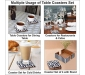 Table Coasters Set for Home with Stand Unbreakable with Pattern Design for Cups Mugs Glasses | Wood with Resin | Black & White | Set of 4 Coasters + 1 Stand, 6 image