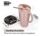 Premium Quality Porcelain Mug with Metal Straw for Coffee , Tea , Milk , Beverages 500 ML - Pink Color - Pack of 1, 2 image