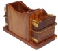 Wooden Mobile Stand Pen Stand and Coaster Set (15 cm 8 cm 9 cm H)